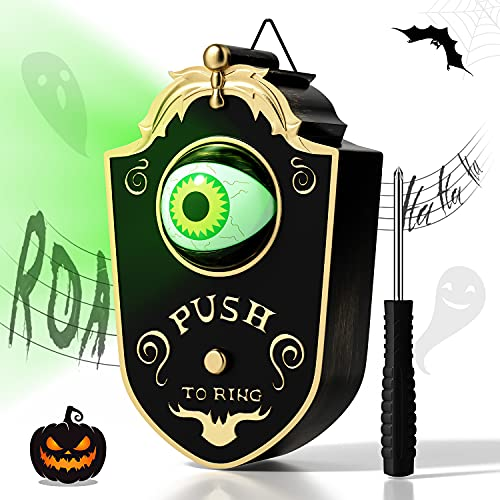 SHVYOG Halloween Doorbell Decorations, Doorbell Animated Eyeball Halloween Decoration with Spooky Sounds, Halloween Party and Haunted House Prop Decorations, Trick-or-Treat Event for Kids