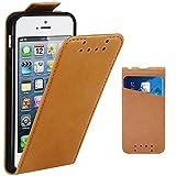 Funda iPhone 5, Supad Funda para Apple iPhone 5 / 5S / SE Flip Case para móvil en cuero sintético (Marrón)