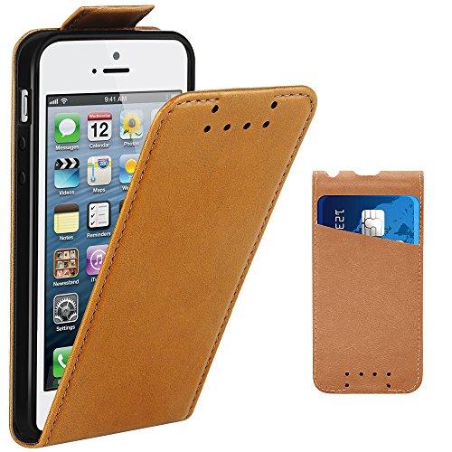 Coque iPhone 5, Coque iPhone 5S, Coque iPhone SE,Supad Etui à rabat protecteur en cuir véritable pour Apple iPhone 5/5S/SE (Marron)
