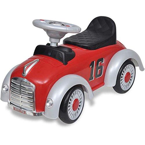Coche eléctrico para niños rojo, máquina de empuje con reposapiés ajustable, para niños de 1 año, hasta máx. 25 kg, rojo