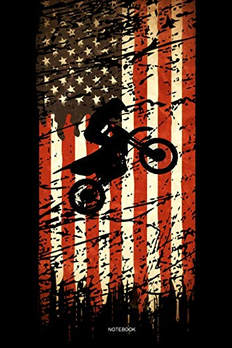 Notebook: Motocross Notebook American Flag Vintage Gift I Size 6 x 9 I Ruled Paper 110 Pages I Motorcycle Dirt Bike Jumping USA Retro I Planner Pocket ... Booklet Diary Tickler Sketch Memo College Log