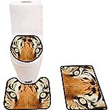 WEURIGEF Juego de Alfombrillas de baño de 3 Piezas Juego de alfombras de baño Salvajes Tiger Eyes Alfombras de baño Suaves y Antideslizantes para Ducha e Inodoro de Cocina