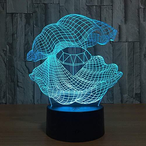 Luz de noche para niños Shell 3D lámpara de luz 16 colores cambio automático interruptor táctil decoración escritorio lámparas regalo cumpleaños con control remoto