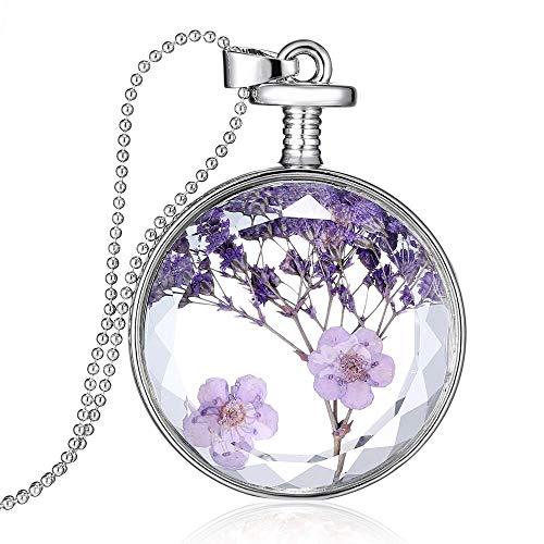 Dry Pressed Plant Specimen Lavender Glass Necklace, Handmade Pressed Purple Flower Necklace Round Pendant Necklace for Women Girls