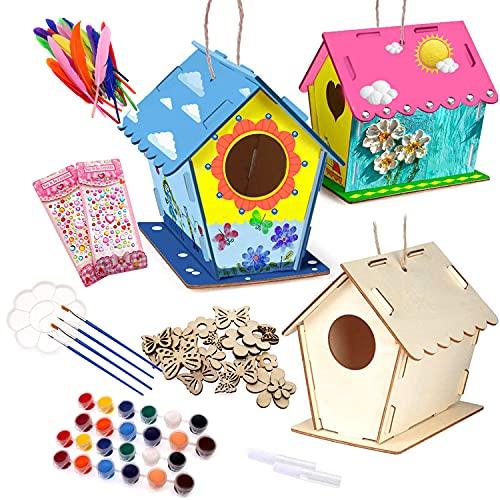 JiangLin 3 Stück Vogelhaus Bausatz, Kinder Holz Vogelhaus, DIY Holz Vogelhaus Kits, Machen Sie kreative Geschenke für Kindergeburtstag und Festival, 12 Farben und 4 Pinsel für Kinder, 6 Klebe