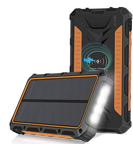 Sendowtek Cargador Solar 20000mAh, Qi Wireless Power Bank Portátil Batería Externa, 3...