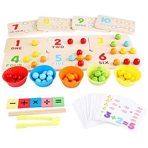 Sharplace Montessori Clips Beads Juego de Mesa Juegos de matemáticas multifuncionales para el hogar Educación temprana para jardín de Infantes Primaria
