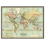 Beautiful World Map Vintage Atlas 1914 Mercator Projection