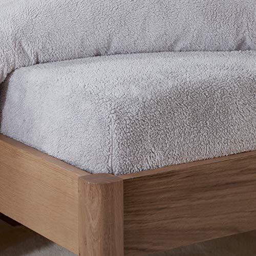 Sleepdown Teddy Fleece Spannbetttuch, einfarbig, warm, kuschelig, superweich, 140 x 200 cm, Grau