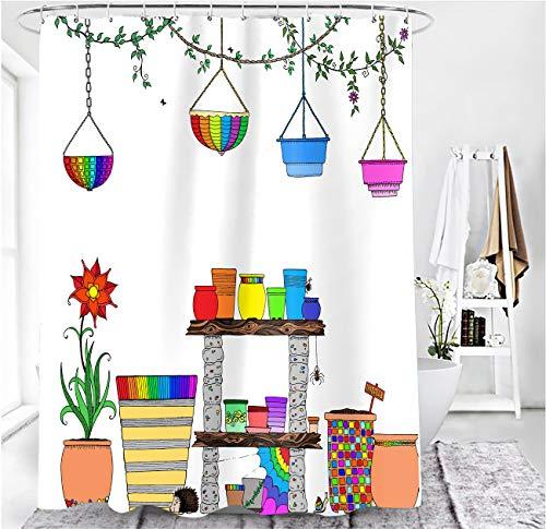 MundW DasDesign Duschvorhang bunt Garten Farbvolle Blumen Planzen Badezimmer Textil Vorhang mit Antischimmel Effekt Igel waschbar Shower Curtain inkl. 12 C-Ringe mit Gewicht unten 180 x 200 cm