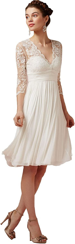 Dearta Women's ALine VNeck Lace 3 4 Sleeves Short Mini Beach Wedding Dresses