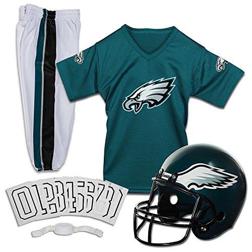 Franklin Sports Philadelphia Eagles Kids Football Uniform Set - NFL Youth Football Costume for Boys & Girls - Set Includes Helmet, Jersey & Pants - Small