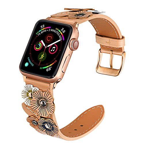 TRUMiRR Watchband Compatible with 38mm 40mm Apple Watch Women, Fashion Flower Genuine Leather Band Rose Gold Stainless Steel Buckle Strap Wristband for iWatch Series 5 4 3 2 1 All Models