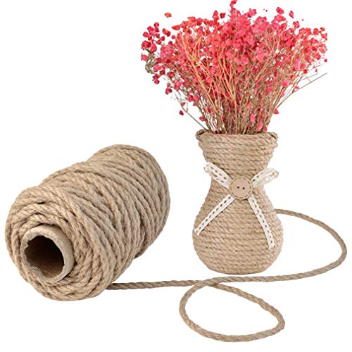 Topbuti 5mm Natural Jute Twine 100 Feet Braided Jute Rope, Crafting Twine String Thick Twine for DIY Artwork, Christmas Twine, Gift Wrapping, Gardening Applications Photo #7