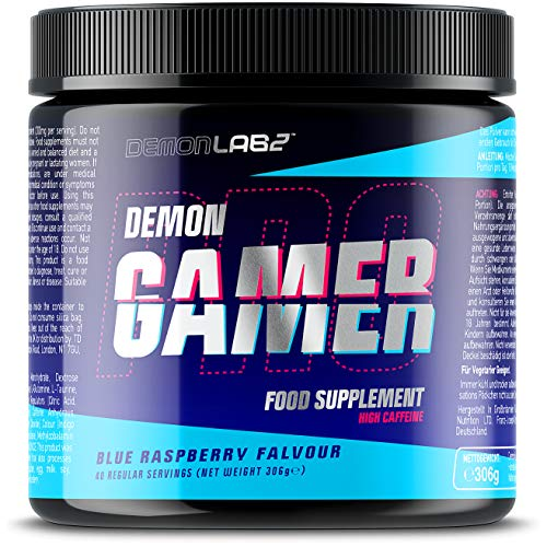 Demon Gamer - Gaming Booster Powder with Caffeine - Esports Energy Drink with Aminos & Vitamin B12 for Energy and Mental Performance (40 Servings, Blue Raspberry Flavour)