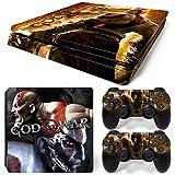 WANGPENG Piel de Vinilo God of War para PS4 Slim + calcomanías Protectoras del Controlador para Playstation 4 Slim para Accesorio Dualshock 4