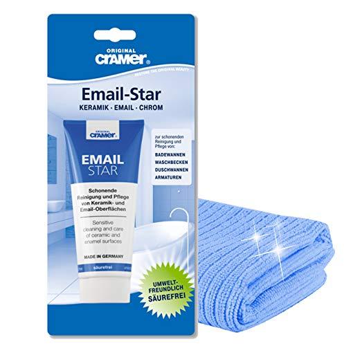 Cramer Email-Star | Reinigungspaste Polierpaste zur schonenden Reinigung von Keramik und Emailoberflächen | Mit Gratis Microfasertuch by kör4u® I Made in Germany