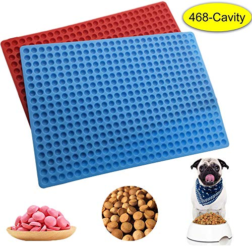 2 Pack 468 Cavity Mini Round Silicone Mold Dog Treats Pan for Cookies, ZONPEN Pet Treats Baking Mold Small Dot Cake Decoration Silicone Baking Mat Cooking Sheets with Red and Blue