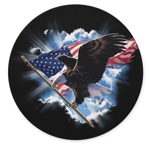 Patriotic American Flag Clouds Eagle Round Mousepad Gaming Mouse Pad Rubber Round Mouse Mat(7.87inchx7.87inch)
