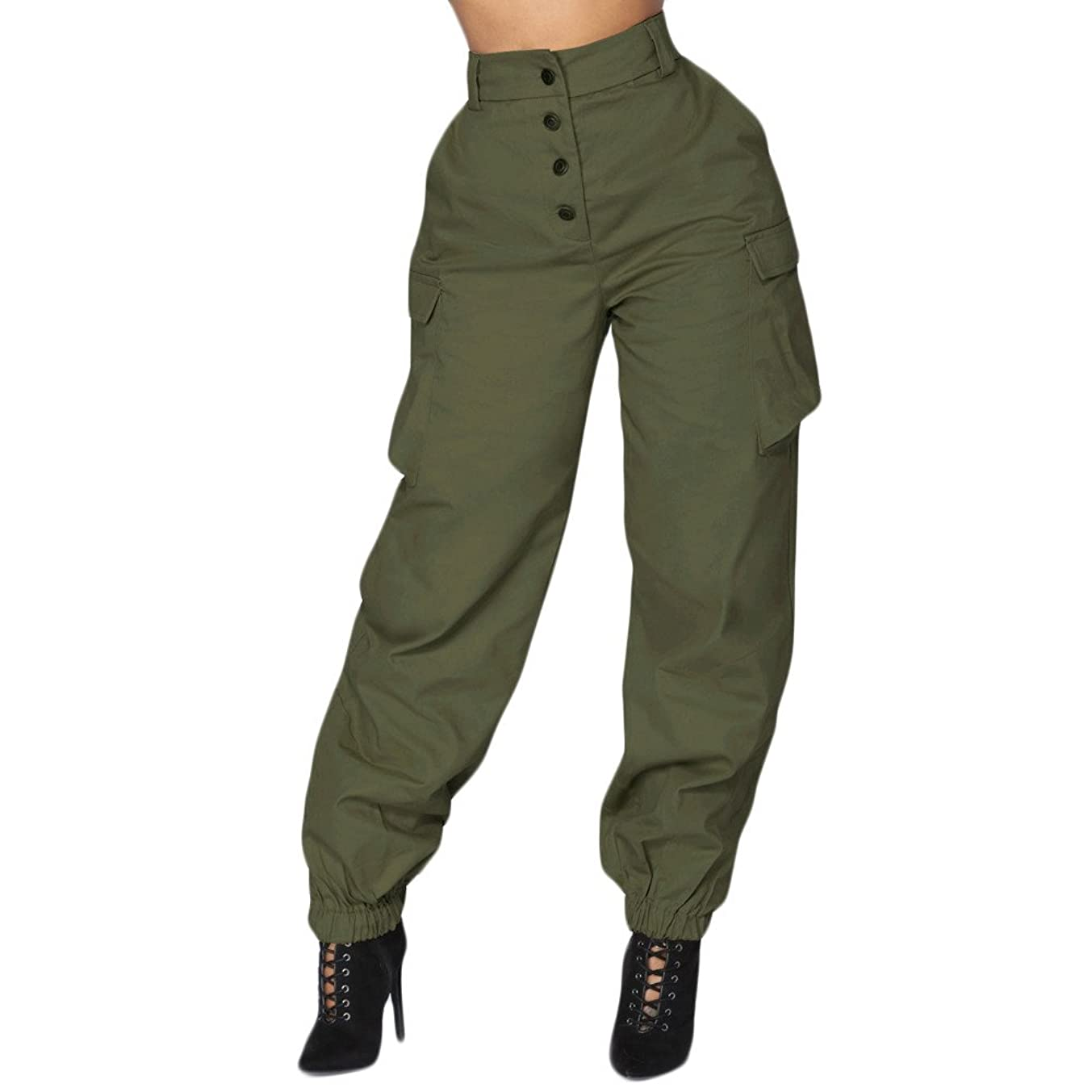 ZEFOTIM Womens Belted High Waist Trousers Ladies Party Casual Pants