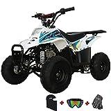 X-PRO Bolt 110 110cc ATV Quad Youth ATVs Quads 110cc 4 Wheeler ATVs Kid Size ATV 4 Wheelers with Gloves, Goggle and Face Mask(Blue)