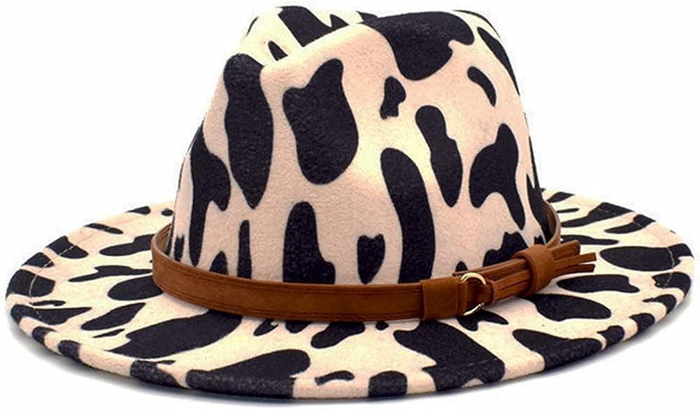 Womens Winter Spring Felt Cow Print Fedora Hat, Wide Brim Fashion Panama Cap for Women