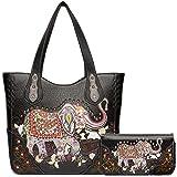Elephant Rhinestone Studded Western Style Concealed Carry Purse Handbag Women Shoulder Bag Wallet Set (Black Set)