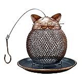 DealMux - Comedero para pájaros de jaula colgante de metal para exteriores, 1 comedero para pájaros de metal anticorrosivo artesanal, comedero para pájaros de gatito vintage colgante, bronce
