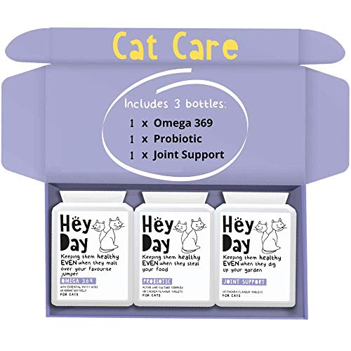 Hey Day Pets Cat Care Support Bundle - Cat Care Supplements - With Omega 3 6 9 + Probiotics - Active Culture Complex for Healthy Digestion, Skin & Coat - Essential for Cat Health (300 Tablets)