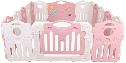 WANNA ME Baby Playpen Baby guardrail Fence Safety Toddler Crawling bar Climbing mat Game Pool Home Shatter-Resistant Fence Strong and Durable Made from Non-to  Color Pink