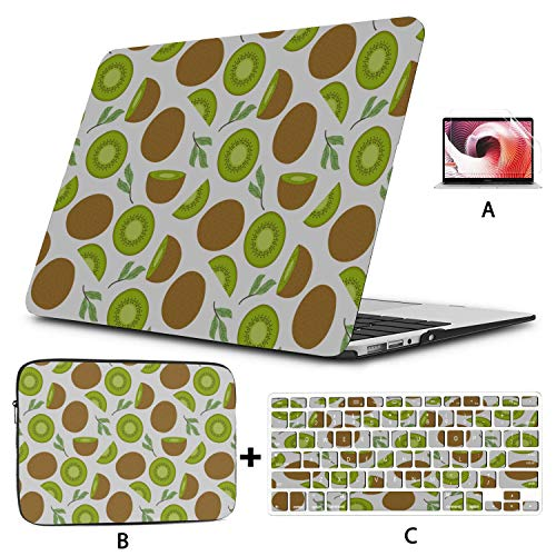Laptop Protective Case Kiwi Cartoon Fruit Slice Green Laptop Cover Case Hard Shell Mac Air 11'/13' Pro 13'/15'/16' with Notebook Sleeve Bag for MacBook 2008-2020 Version