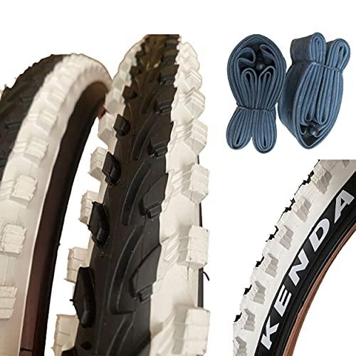 2 Cubiertas Bicicleta Kenda 26X1.95 Negro-Blanco + 2 cámaras 26' MTB