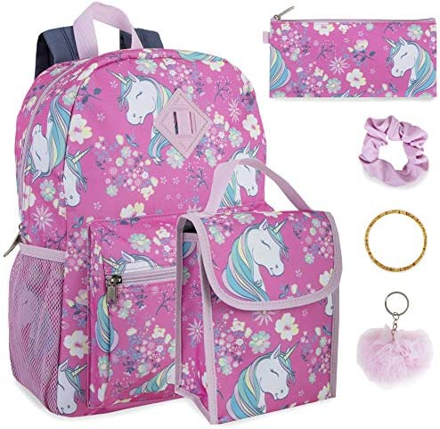 Girl s 6 in 1 Backpack Set With Lunch Bag Pencil Case Keychain and Accessories Unicorn Garden product image