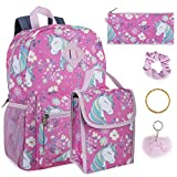 Girl's 6 in 1 Backpack Set With Lunch Bag, Pencil Case, Keychain, and Accessories (Unicorn Garden)