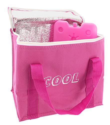MIK Funshopping 7,5L Kühltasche mit Kühlakku, Thermotasche Cooler Bag Lunchtasche Picknicktasche isoliert, faltbar, für Lebensmitteltransport (Pink)