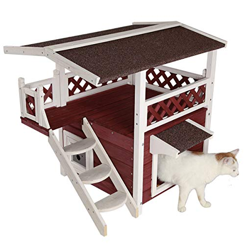 Petsfit Outdoor Cat House with Escape Door and Stairs