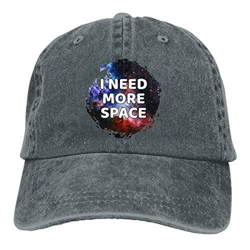 Yuanmeiju Gorra de Mezclilla I Need More Space Unisex Vintage Washed Distressed Baseball Cap Twill Adjustable Dad Hat