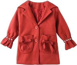 OCHENTA Kids Girl Single-Breasted Pearl Flare Sleeve Fleece Jacket Coats with Hooded
