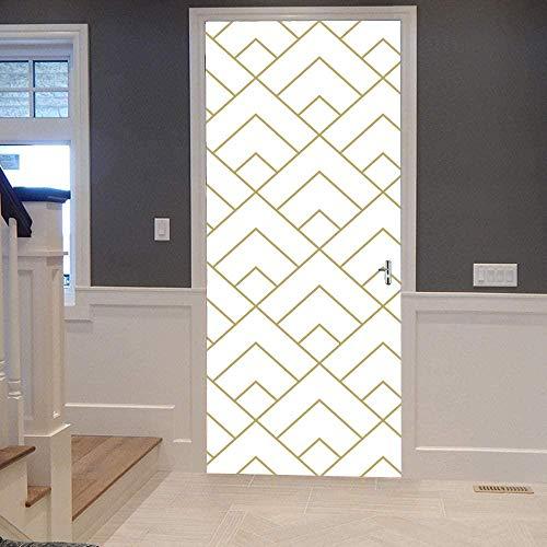 Pegatinas de puerta KEXIU, papel tapiz autoadhesivo de bricolaje impermeable extraíble, adecuado para dormitorio, sala de estar, cocina, baño, etc. ( Azulejos de diamantes geométricos ) 77 x 200 cm