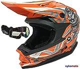 3GO X10-K CRÁNEO CASCO DE MOTOCROSS NIÑOS Y NIÑAS quad kart ATV off road MTB naranja y gafas NEGRO (M (49-50 CM))