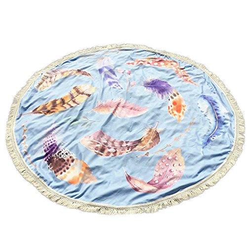 JenK Cing Runde Quaste Stranddecke Picknickdecke Picknick-Matte Outdoor, wärmeisoliert & weich Polyester Stranddecke,Ultraleicht kompakt Wasserdicht und sandabweisend (Hellblau)