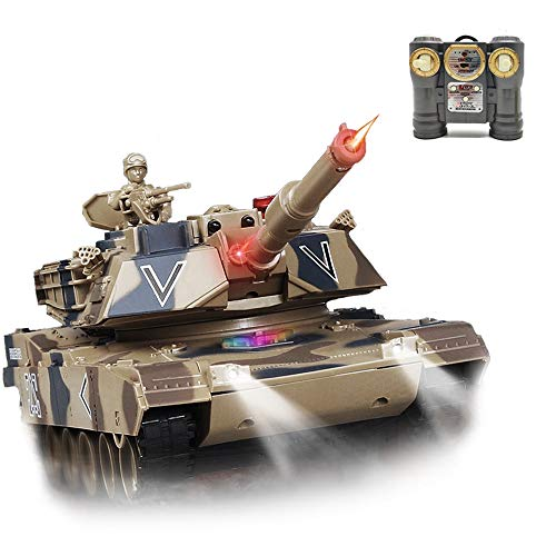 Remote Control Tank for Boys,RC Tank,with Smoke Effect, Lights & Realistic Sounds,1:24 M1A2 Battle Tank Toy,Great Gift Toy for Kids