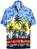 LA LEELA Camicia Hawaiana Reale Albero Blu Palm Beach Stampata Likre per m Femminile