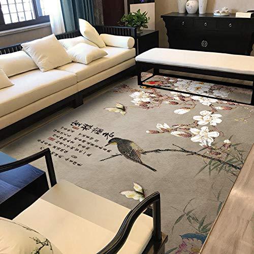 Alfombra De Diseño Moderna Home Alfombra Flores, pájaros y Mariposas de Estilo chinoPara Dormitorio Sala De Estar Comedor Piso Fácil de Limpiar 120x180CM(4'0''x6'0'')