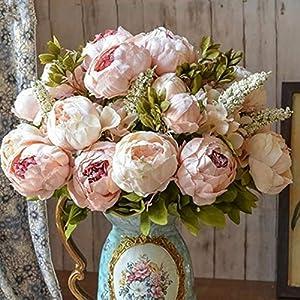 Oulensy 1Bunch Europea Artificial del Peony del Partido Decorativo de Seda Flores Falsas Peonías para el hogar…