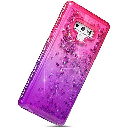 Best Deals! Herbests Compatible with Samsung Galaxy Note 9 Glitter Case Girls Women Liquid Flowing L...