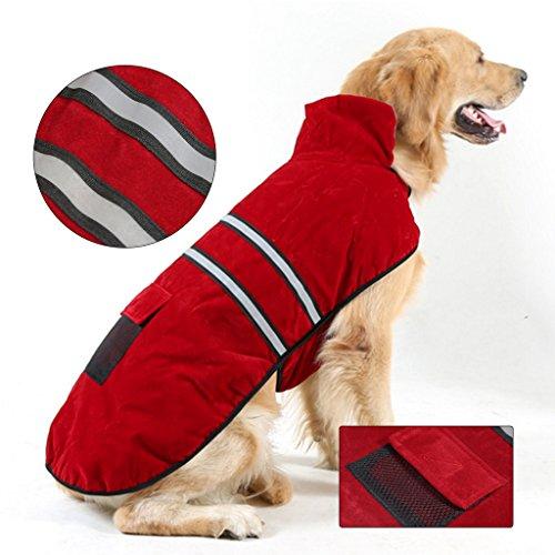 Yujiao Mao Größer Hundemantel Winterjacke Hundebekleidung Herbst Weste Hundejacke Wintermantel perfekt für kalte Winter, Winerot, XL