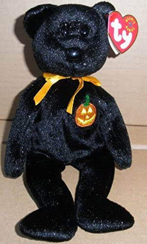 TY Beanie Babies Haunt Halloween Bear Stuffed Animal Plush Toy - 8 1 2 inches tall - Black with Gold Glitter by Smartbuy