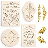 LOVEINUSA 4 Pcs Baroque Silicone Fondant Molds, Filigree Mold 3D Sculpted Flower Cake Molds for Decorating Candy Polymer Clay Sugar Craft