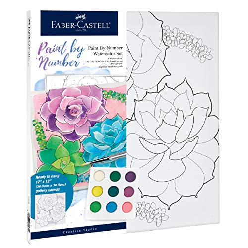 Faber-Castell Watercolor Paint by Number, Succulents - Adult Paint by Number Kit on Canvas